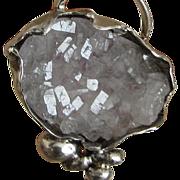 Druzy Agate Silver Pendant - Large Stone Rustic Pendant