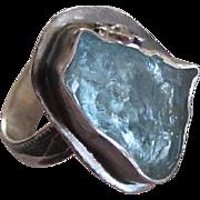 Raw Uncut Aquamarine ring with Flower - Handmade Textured Band Ring