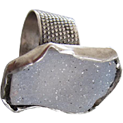 Handmade Agate Druzy Silver Ring - Large Stone Pattern band Ring
