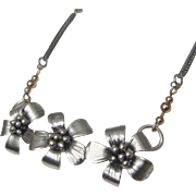 Silver flowers Handmade necklace with Gold Fill