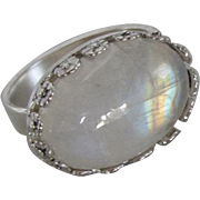 Handmade Silver Moonstone Ring - Blue Flash Rainbow ring