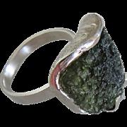Rough Moldavite Silver ring