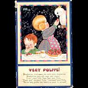 Raphael Tuck Oilette Postcard Quaint Folk Series Very Polite by Chloe Preston artist signed