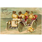 SOLD Embossed Easter Postcard Chicks in Motor Car 1908 Chromo-Lithograph International Art Pub