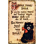Raphael Tuck Oilette Postcard Smile Honey Smile Black Cat Merry Christmas