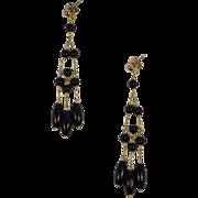 14 Karat Gold and Black Onyx Beaded Dangle Drop Earring Pair