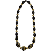 Art Deco Black Plastic and Wooden Carved Beaded Necklace