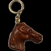 Vintage Leather Horse Head Keychain