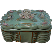 Nancy China Green and Rose Cigarette Box with Ashtray
