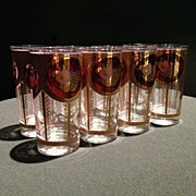 SOLD Set of Eight circa 1930s Drinking Glasses in Magenta & Gold-leaf - Red Tag Sale Item