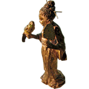 "Cold Painted  2""  Bronze Figure of Oriental  Maiden with Fan and Bird"