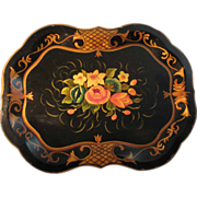Signed and Dated (1949) Chippendale Shaped Tole Tray
