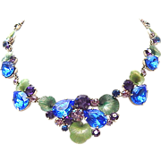 Vintage unsigned beauty - blue & purple rhinestone necklace with enamel leaves