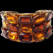 Vintage amber colored rhinestone cuff bracelet