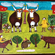 SALE Everett Lewis Original Painting - Canadian Folk Artist
