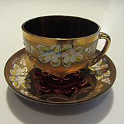 SALE Vintage Venetian Glass Demitasse Coffee Set - Hand Painted Cranberry and Gold