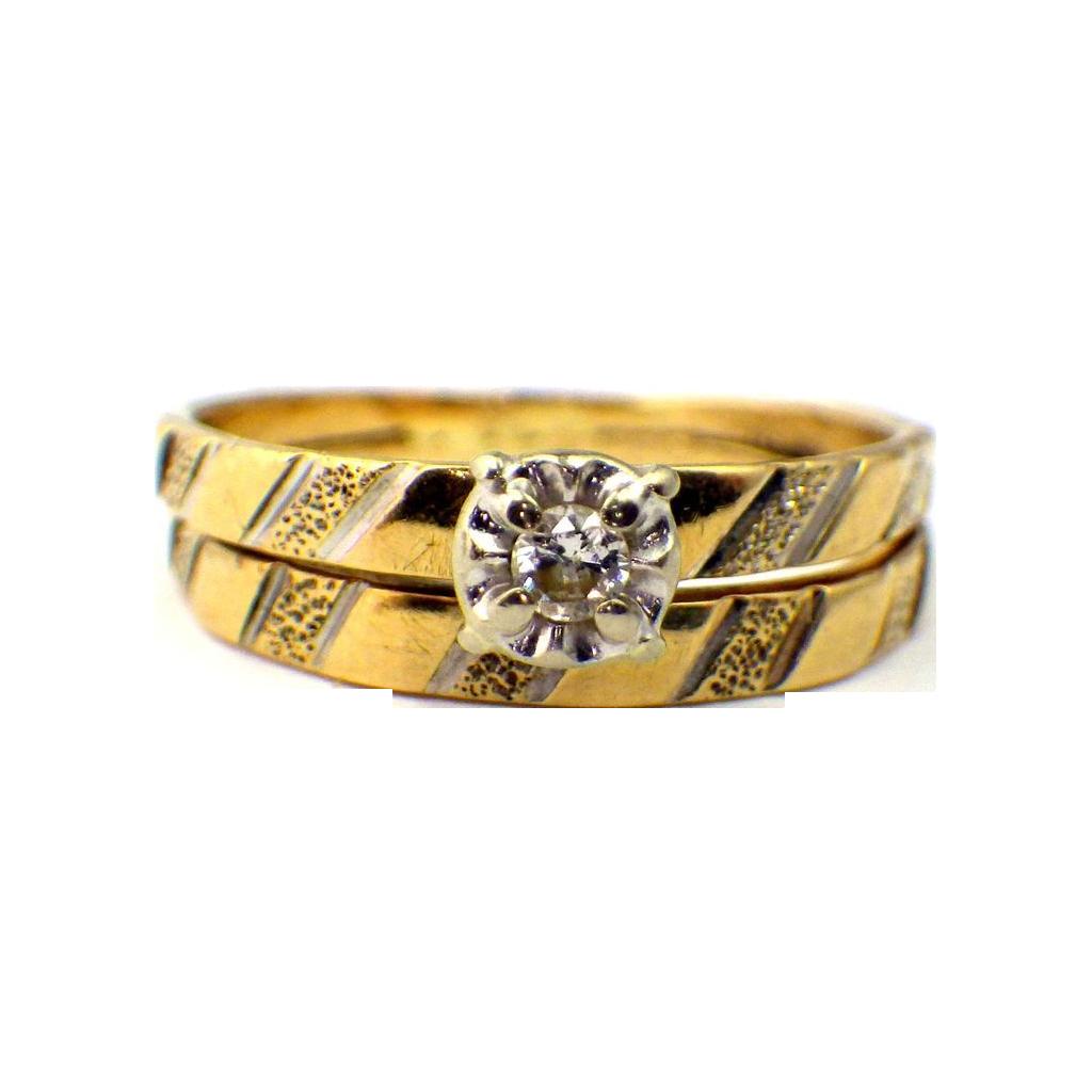 Vintage Diamond Wedding Ring Band Set Yellow Gold From