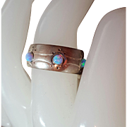 SALE Neat Artisan Vintage Sterling Silver Fire Opal Cabochon Etched Ring 8