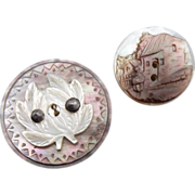 Two Beautiful Cut Pearl Vintage Buttons