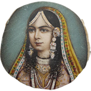 Hand Painted Miniature Painting of Eastern Lady