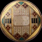 Exceptional Large Art Deco Enamel Button