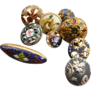 Nine Vintage small enamel buttons