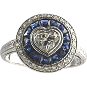 Heart shaped Diamond with Sapphires - 18K WG Ring
