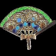 800 Silver Gilt Chinese Enamel Fan Pin/Pendant