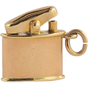 Vintage Cigarette Lighter Charm with movable top - 14 karat yellow gold