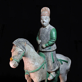Massive Ming Dynasty, pottery cavalry horse soldier