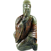 REDUCED Large Chinese celadon green jade figure wise man!