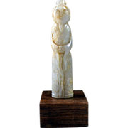 Large Chinese Celadon/white jade attendant as a pendant!