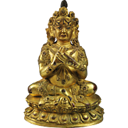 SOLD Important Early Sino-Tibetan / Chinese gilt bronze Buddha Mahakala