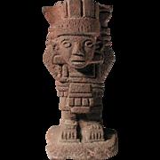 Museum Quality Pre Columbian Toltec - Aztec red lava figure!