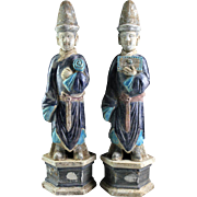 Matching pair of very large Chinese Ming pottery figures!