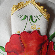 Vintage Poppy Pocketed Hand Embroidered Linen Tablecloth