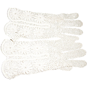 Perfect Pair of Hand Crocheted Gloves from 1950s