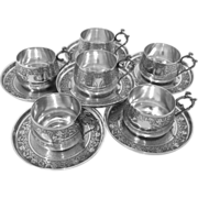 Compere Ornate French Sterling Silver Six Coffee/Tea Cups w/Saucers