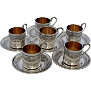 Molle Ornate French Sterling Silver Vermeil Six Coffee Tea Cups with Saucers Imperial Eagles