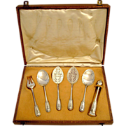 Puiforcat French Sterling Silver Dessert/Hors D'oeuvre Set 6 pc w/Box Louis XVI ...