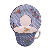 Mottahedeh Cornelia Blue Cup and Saucer Butterfly Flowers