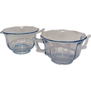 Elegant Glass Cambridge Decagon Willow Blue Cream Creamer Sugar Bowl 1930's