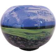 Toby McGee Glass Landscape Bowl Earth Grass Sky Clouds Signed Unique