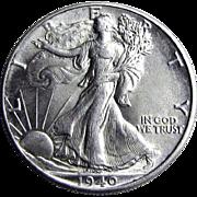1940-P Walking Liberty Silver Half Dollar Uncirculated UNC. US Coin