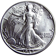 1942-P Walking Liberty Silver Half Dollar US Coin Uncirculated UNC.