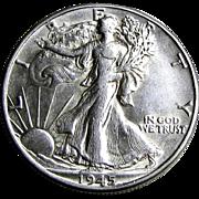 SOLD 1945-P Walking Liberty Silver Half Dollar US Coin XF+/AU