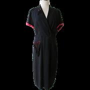 Vintage 1940s Norman Rosen Original Dress Black Crepe with Red detailing Black Fringe Tassels