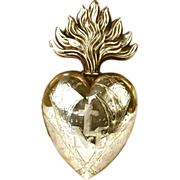 SOLD LARGE Antique Nineteenth Century Silver Sacred Heart Ex Voto Reliquary