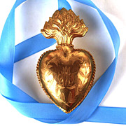 SOLD Antique 19th c. French Gilded Bronze Flaming Sacred Heart Voto/Reliquary