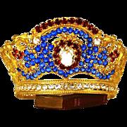 Sumptuous Antique Santos Gilded Brass Bejeweled  Diadem Crown
